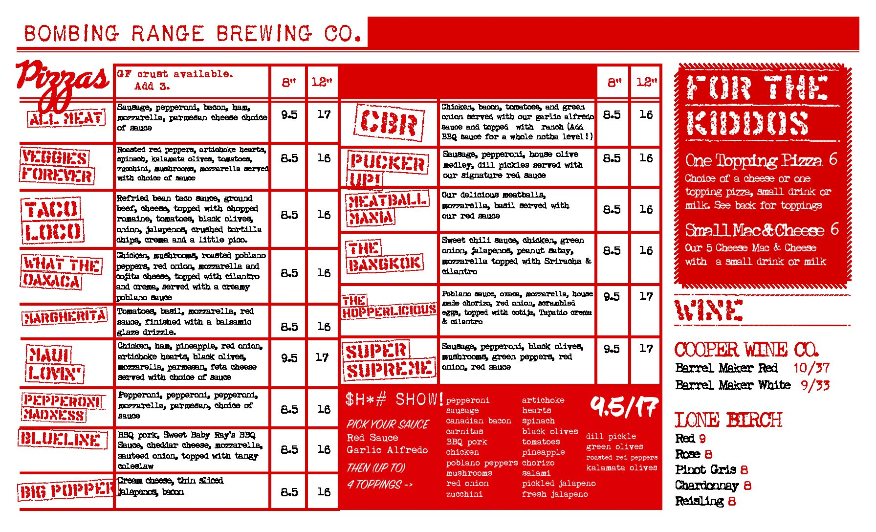 Bombing Range Brewing Company Menu